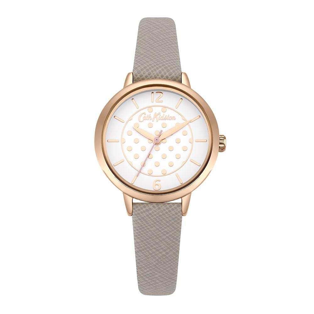CATH KIDSTON QUARTZ METALLIC SPOT ROSE GOLD ALLOY CKL065ERG GREY LEATHER STRAP LADIES WATCH
