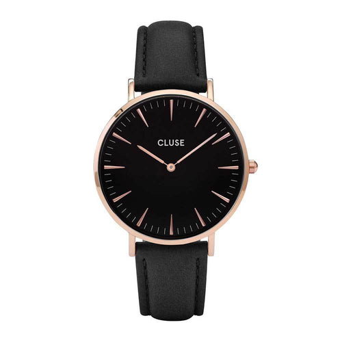 CLUSE LA BOHEME QUARTZ ROSE GOLD STAINLESS STEEL CL18001 BLACK LEATHER STRAP LADIES WATCH