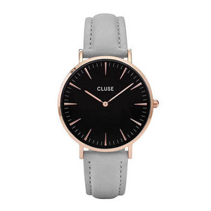 CLUSE LA BOHEME QUARTZ ROSE GOLD STAINLESS STEEL CL18018 GREY LEATHER STRAP LADIES WATCH