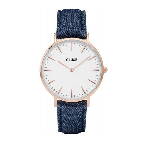 CLUSE LA BOHEME QUARTZ ROSE GOLD STAINLESS STEEL CL18025 BLUE LEATHER STRAP LADIES WATCH
