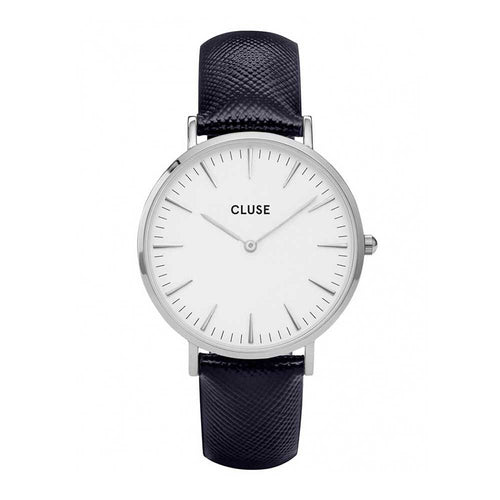 CLUSE LA BOHEME QUARTZ SILVER STAINLESS STEEL CL18232 BLACK LEATHER STRAP LADIES WATCH