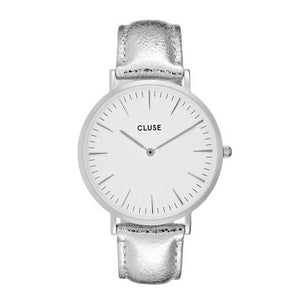 CLUSE LA BOHEME QUARTZ SILVER STAINLESS STEEL CL18233 LEATHER STRAP LADIES WATCH