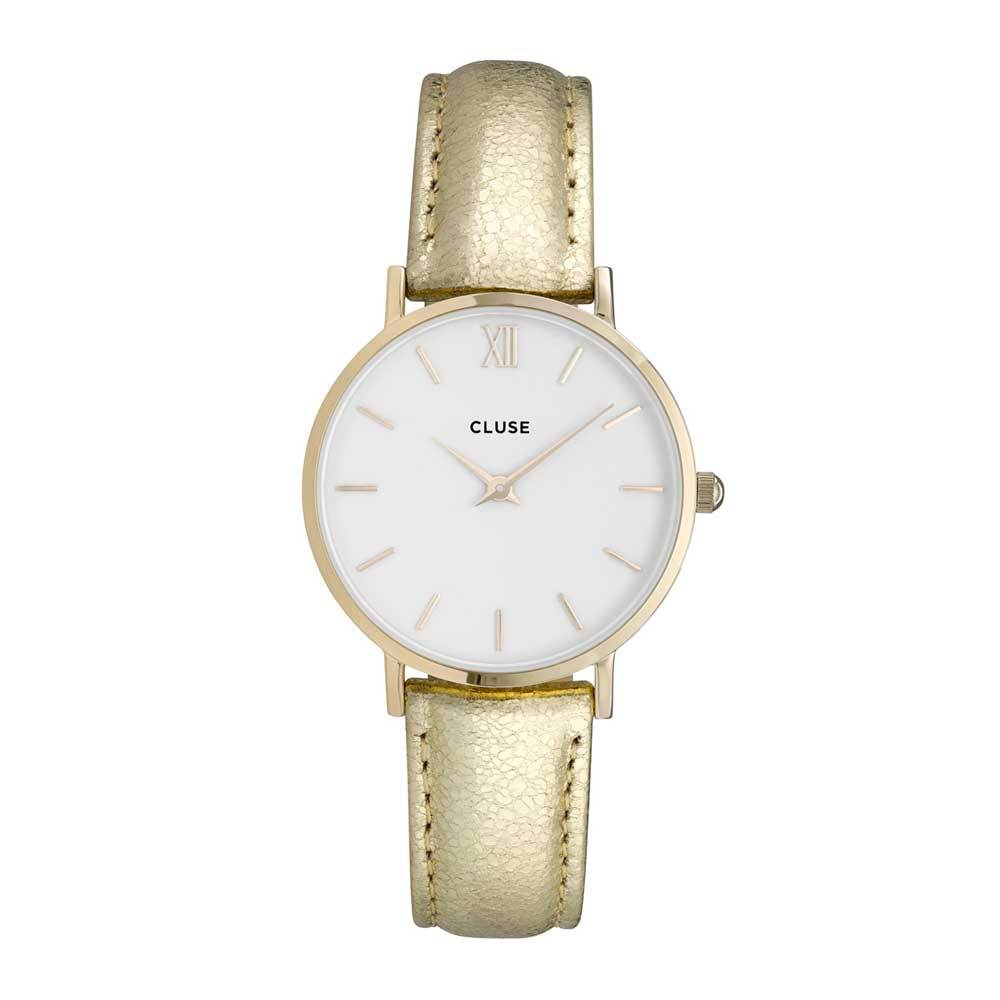 CLUSE MINUIT QUARTZ GOLD STAINLESS STEEL CL30036 LEATHER STRAP LADIES WATCH