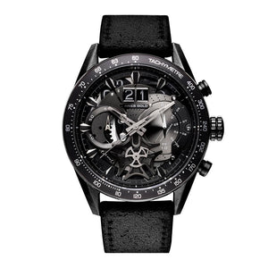 ARIES GOLD CHRONOGRAPH JOLTER BLACK STAINLESS STEEL G 7008 BK-BK LEATHER STRAP MEN'S WATCH