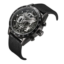 Load image into Gallery viewer, ARIES GOLD CHRONOGRAPH JOLTER BLACK STAINLESS STEEL G 7008 BK-BK LEATHER STRAP MEN'S WATCH