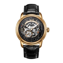 Load image into Gallery viewer, ARIES GOLD AUTOMATIC INFINUM EL TORO GOLD STAINLESS STEEL G 9005 G-BK BLACK LEATHER STRAP MEN'S WATCH