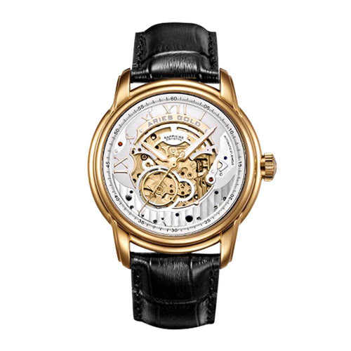 ARIES GOLD AUTOMATIC INFINUM EL TORO GOLD STAINLESS STEEL G 9005 G-S BLACK LEATHER STRAP MEN'S WATCH