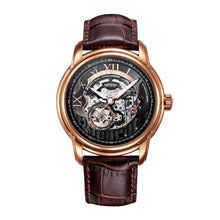 Load image into Gallery viewer, ARIES GOLD AUTOMATIC INFINUM EL TORO GOLD STAINLESS STEEL G 9005 RG-BK BROWN LEATHER STRAP MEN'S WATCH
