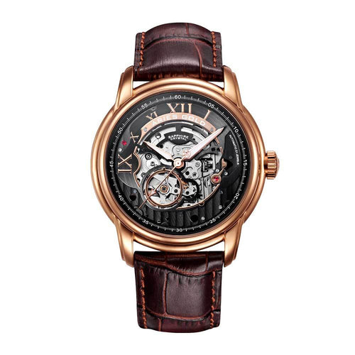 ARIES GOLD AUTOMATIC INFINUM EL TORO GOLD STAINLESS STEEL G 9005 RG-BK BROWN LEATHER STRAP MEN'S WATCH