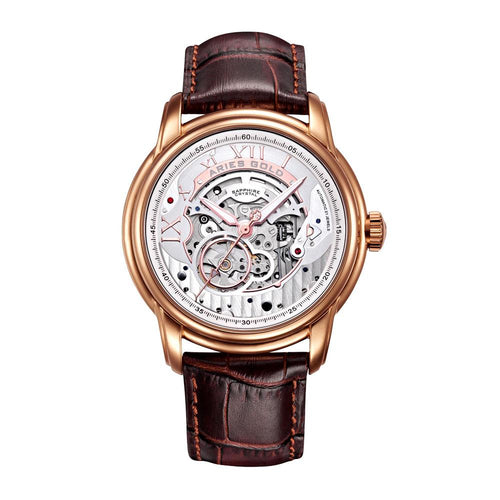 ARIES GOLD AUTOMATIC INFINUM EL TORO ROSE GOLD STAINLESS STEEL G 9005 RG-S BROWN LEATHER STRAP MEN'S WATCH