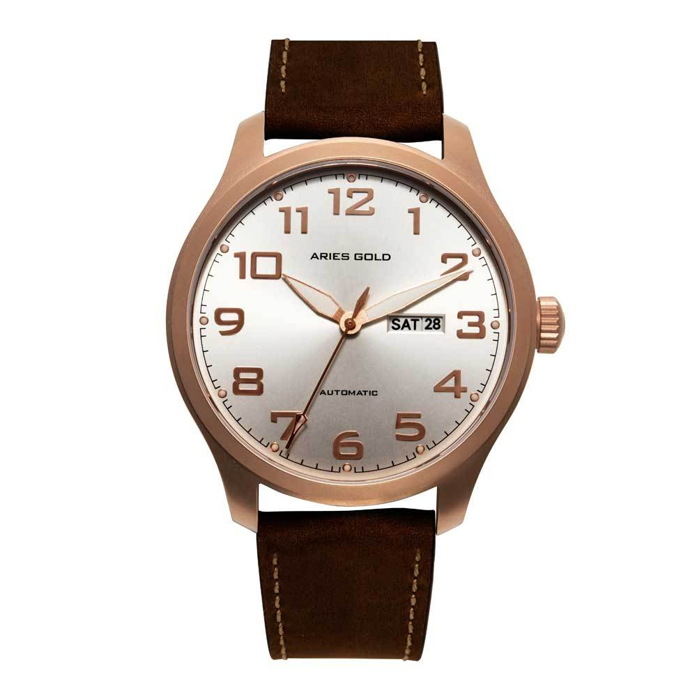 ARIES GOLD AUTOMATIC ESCALATE ROSE GOLD STAINLESS STEEL G 9017 RG-SRG BROWN LEATHER STRAP MEN'S WATCH