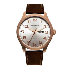 Load image into Gallery viewer, ARIES GOLD AUTOMATIC ESCALATE ROSE GOLD STAINLESS STEEL G 9017 RG-SRG BROWN LEATHER STRAP MEN'S WATCH