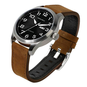 ARIES GOLD AUTOMATIC ESCALATE SILVER STAINLESS STEEL G 9017 S-BK BROWN LEATHER STRAP MEN'S WATCH