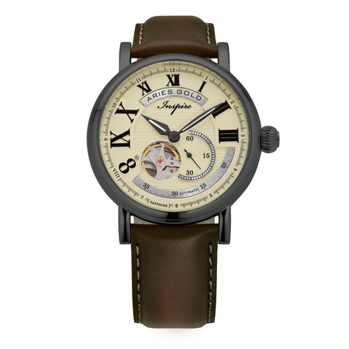 ARIES GOLD AUTOMATIC INSPIRE GAUNTLET VINTAGE TUNGSTEN STAINLESS STEEL G 903 TS-BEI BROWN LEATHER STRAP MEN'S WATCH