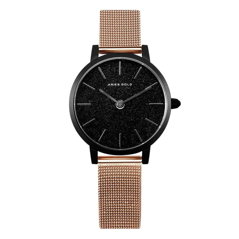 ARIES GOLD COSMO BLACK STAINLESS STEEL L 1024 BK-BKRG ROSE GOLD MESH STRAP WOMEN'S WATCH
