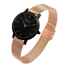 Load image into Gallery viewer, ARIES GOLD COSMO BLACK STAINLESS STEEL L 1024 BK-BKRG ROSE GOLD MESH STRAP WOMEN'S WATCH
