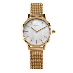 ARIES GOLD COSMO GOLD STAINLESS STEEL L 1024 G-MP MESH STRAP WOMEN'S WATCH