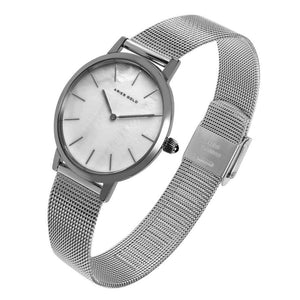 ARIES GOLD COSMO SILVER STAINLESS STEEL L 1024 S-MP MESH STRAP WOMEN'S WATCH