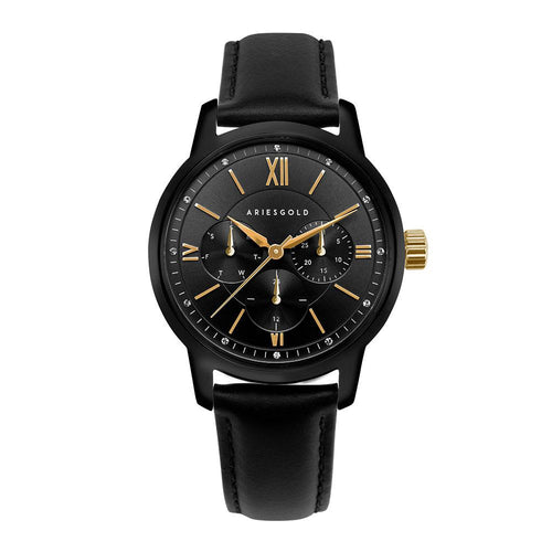 ARIES GOLD URBAN ETERNAL BLACK STAINLESS STEEL L 1028 BKG-BKG BLACK LEATHER STRAP WOMEN'S WATCH
