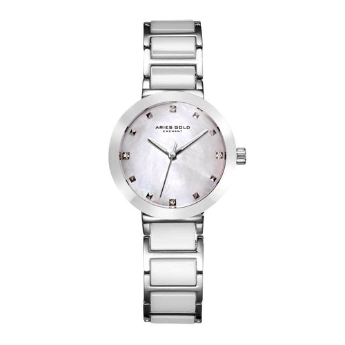 ARIES GOLD ENCHANT PERSIA SILVER STAINLESS STEEL L 5006Z S-MP WHITE CERAMIC WOMEN'S WATCH