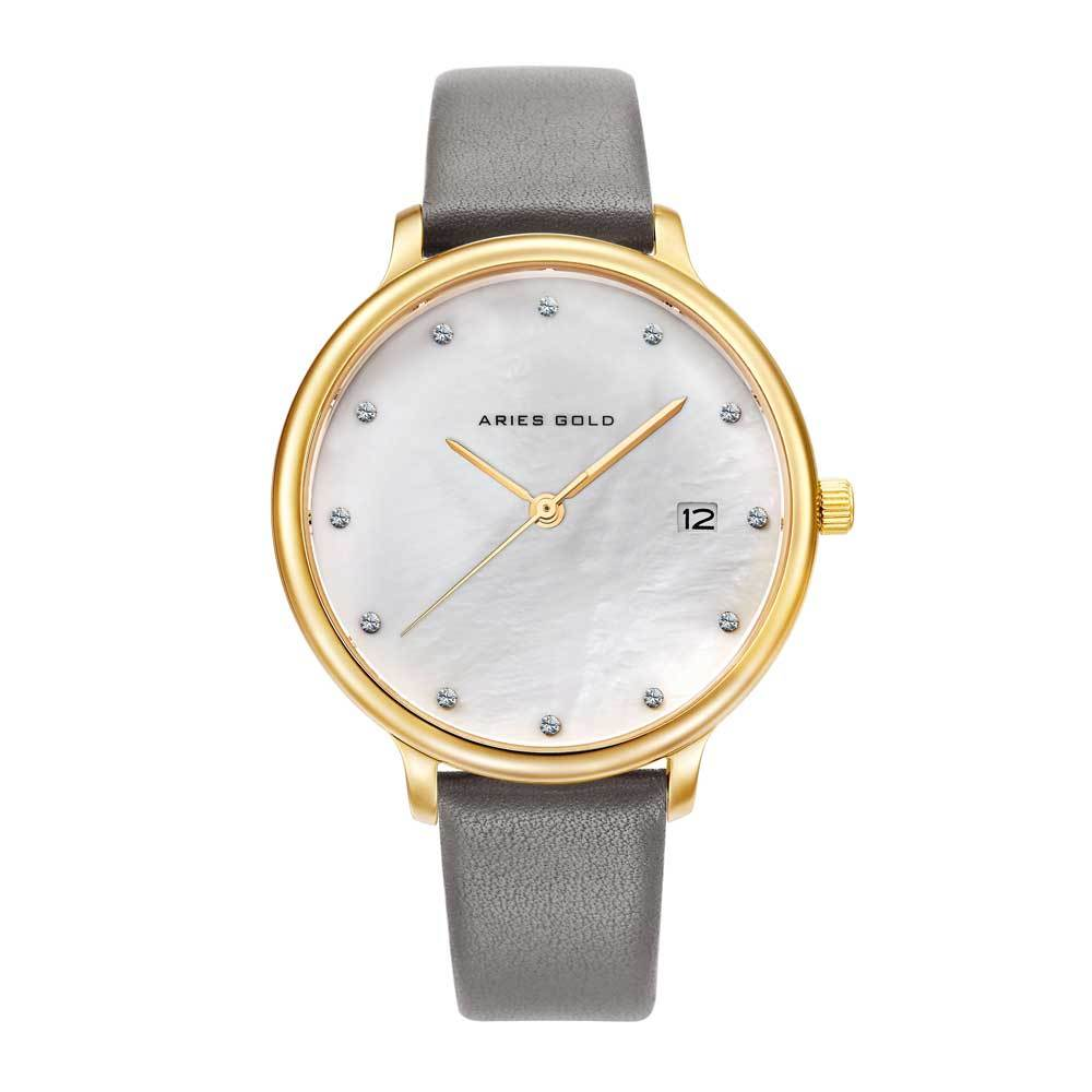 ARIES GOLD ENCHANT FLEUR GOLD STAINLESS STEEL L 5035 G-MP LEATHER STRAP WOMEN'S WATCH