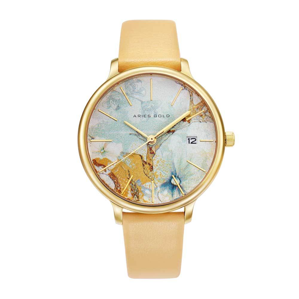 ARIES GOLD ENCHANT FLEUR GOLD STAINLESS STEEL L 5035 G-ORFL LEATHER STRAP WOMEN'S WATCH