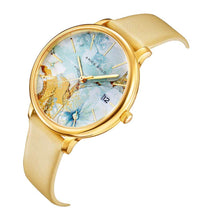 Load image into Gallery viewer, ARIES GOLD ENCHANT FLEUR GOLD STAINLESS STEEL L 5035 G-ORFL LEATHER STRAP WOMEN'S WATCH