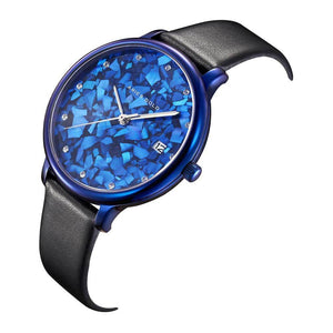 ARIES GOLD ENCHANT FLEUR BLUE STAINLESS STEEL L 5035 PUR-TL LEATHER STRAP WOMEN'S WATCH