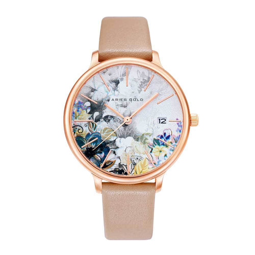 ARIES GOLD ENCHANT FLEUR ROSE GOLD STAINLESS STEEL L 5035 RG-GYFL LEATHER STRAP WOMEN'S WATCH