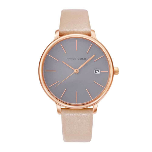 ARIES GOLD ENCHANT FLEUR ROSE GOLD STAINLESS STEEL L 5035 RG-GY LEATHER STRAP WOMEN'S WATCH