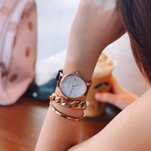 Load image into Gallery viewer, ARIES GOLD ENCHANT FLEUR ROSE GOLD STAINLESS STEEL L 5035 RG-MP LEATHER STRAP WOMEN'S WATCH