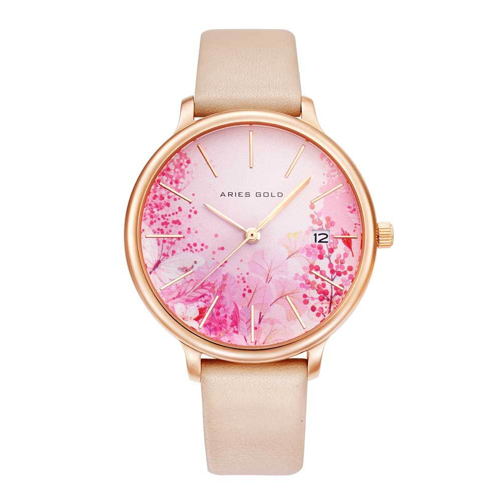 ARIES GOLD ENCHANT FLEUR ROSE GOLD STAINLESS STEEL L 5035 RG-PKFL LEATHER STRAP WOMEN'S WATCH