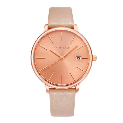 ARIES GOLD ENCHANT FLEUR ROSE GOLD STAINLESS STEEL L 5035 RG-RG LEATHER STRAP WOMEN'S WATCH