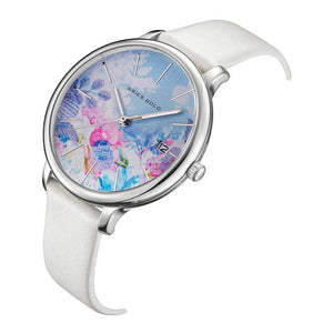 ARIES GOLD ENCHANT FLEUR SILVER STAINLESS STEEL L 5035 S-BUFL LEATHER STRAP WOMEN'S WATCH
