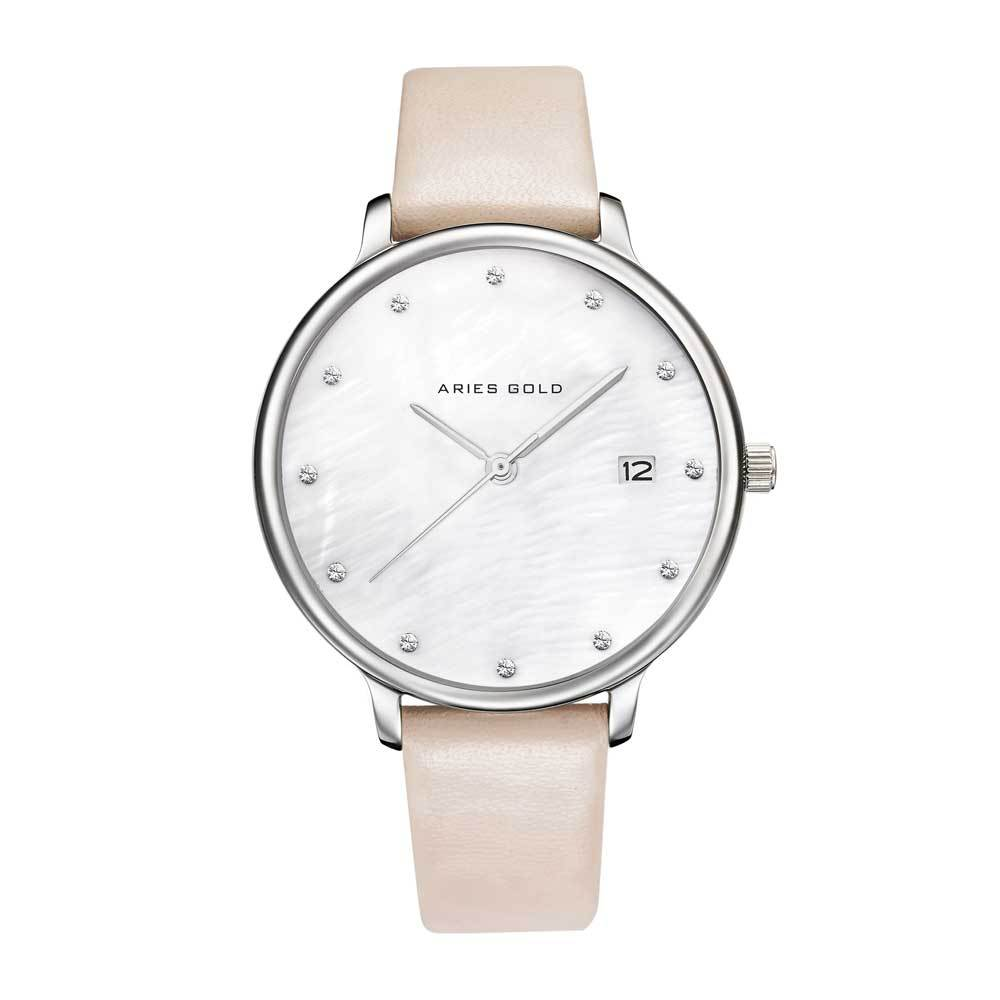 ARIES GOLD ENCHANT FLEUR SILVER STAINLESS STEEL L 5035 S-MP LEATHER STRAP WOMEN'S WATCH