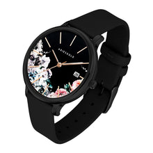 Load image into Gallery viewer, ARIES GOLD ENCHANT FLEUR BLACK STAINLESS STEELL 5035A BK-BKFL BLACK LEATHER STRAP WOMEN'S WATCH