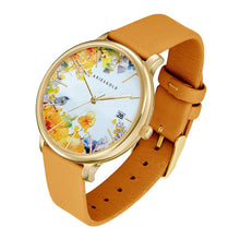 Load image into Gallery viewer, ARIES GOLD ENCHANT FLEUR GOLD STAINLESS STEEL L 5035A G-YFL MUSTARD YELLOW LEATHER STRAP WOMEN'S WATCH