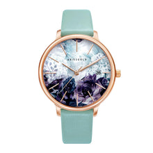 Load image into Gallery viewer, ARIES GOLD ENCHANT FLEUR ROSE GOLD STAINLESS STEEL L 5035A RG-GNFL TURQUOISE LEATHER STRAP WOMEN'S WATCH