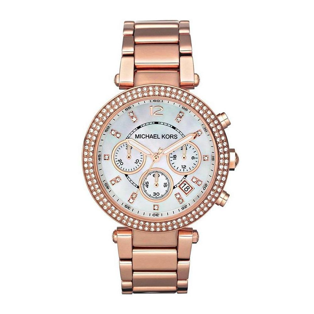 MICHAEL KORS PARKER ROSE GOLD TONE GLITZ MK5491 WOMEN'S WATCH
