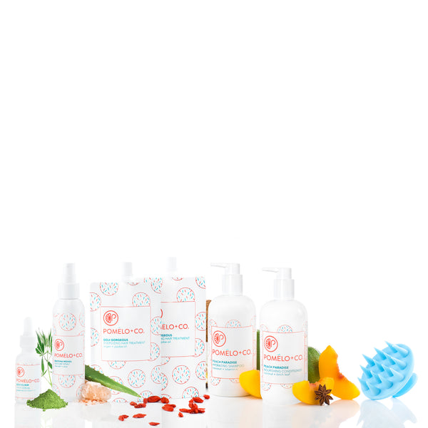 <b>THE GOJI QUEEN SET</b> <br>2 Goji Treatment  + Goji Hair Elixir + Texture Spray + Peach Paradise Shampoo + Conditioner