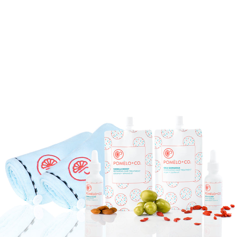 <b>BESTIES SET</b> <br>Vanilla Boost Treatment + Vanilla Elixir + <br>Goji Treatment + Goji Elixir