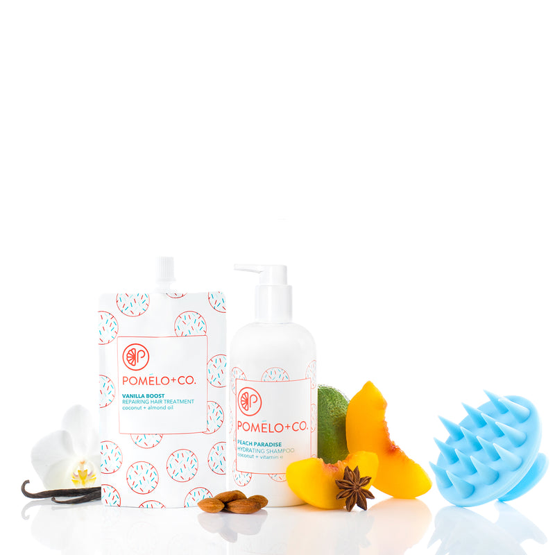<b>SHAMPOO + VANILLA TREATMENT</b> <br>Peach Paradise Shampoo + Vanilla Boost Treatment