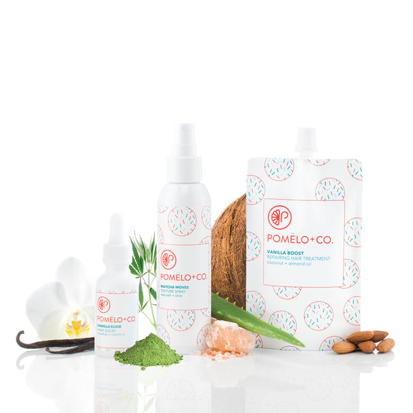 <b>VANILLA + ALOE COMPLETE SET</b> <br>Vanilla Boost Treatment + Elixir + Texture Spray