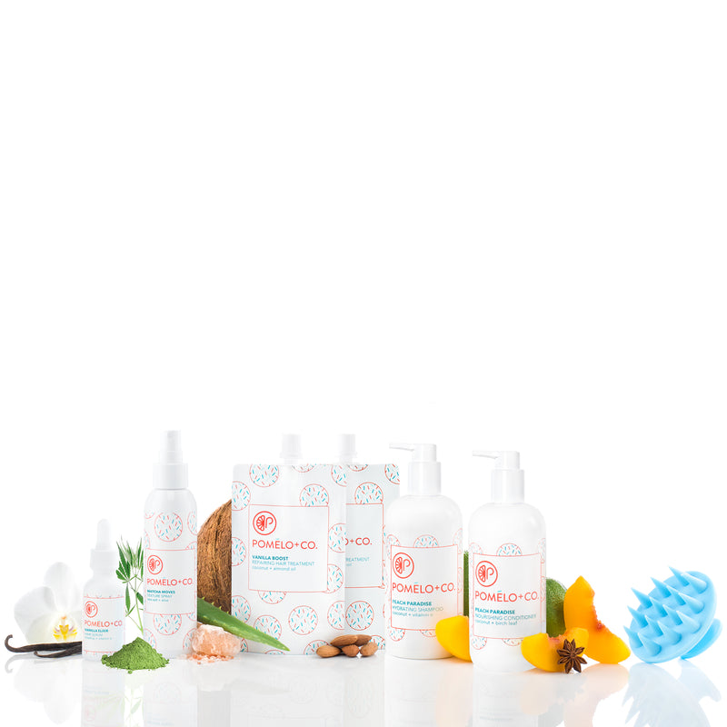 <b>THE QUEEN SET</b> <br>2 Vanilla Boost Treatment + Elixir + Texture Spray + Peach Paradise Shampoo + Conditioner