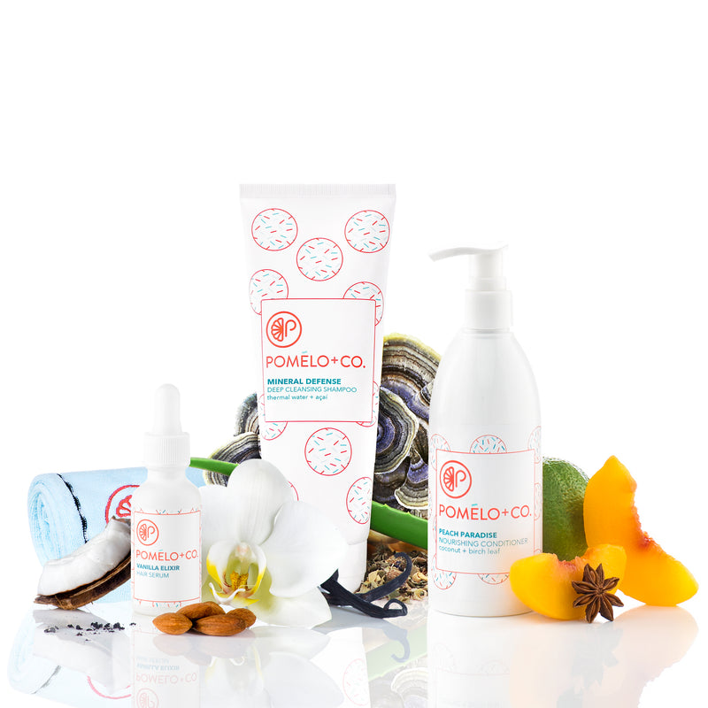 <b>THE MINERAL SOFTY SET</b> <br>Mineral Defense Shampoo + Peach Paradise Conditioner + </br>Vanilla Hair Elixir