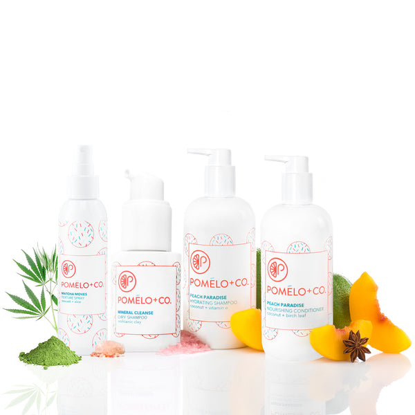 <b>CLEANSE + STYLE SET</b> <br>Hydrating Shampoo + Conditioner + Trockenshampoo + Texture Spray<br>
