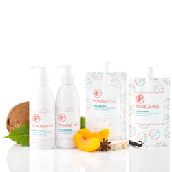 <b>THE ESSENTIALS SET</b> <br>Peach Paradise Shampoo + Conditioner + </br>2 Vanilla Boost Treatments