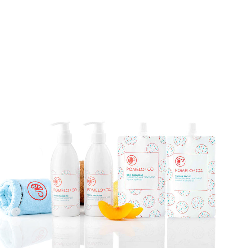 <b>THE GOJI + VANILLA ESSENTIALS SET</b> <br>Peach Paradise Shampoo + Conditioner + </br>Goji Treatments + Vanilla Boost Treatment