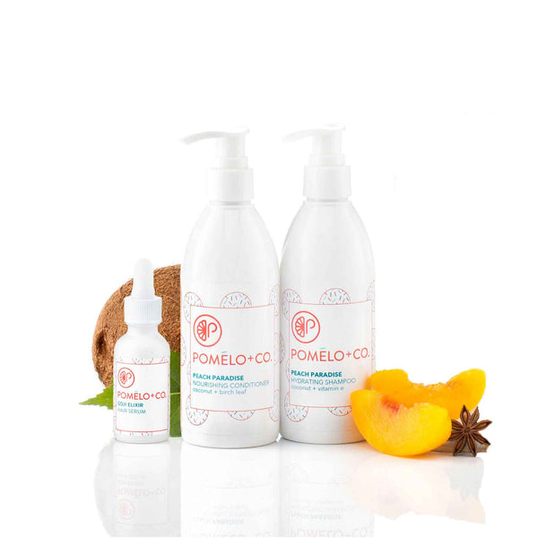<b>THE GOJI SOFTY SET</b> <br>Peach Paradise Shampoo + Conditioner + </br>Goji Hair Elixir