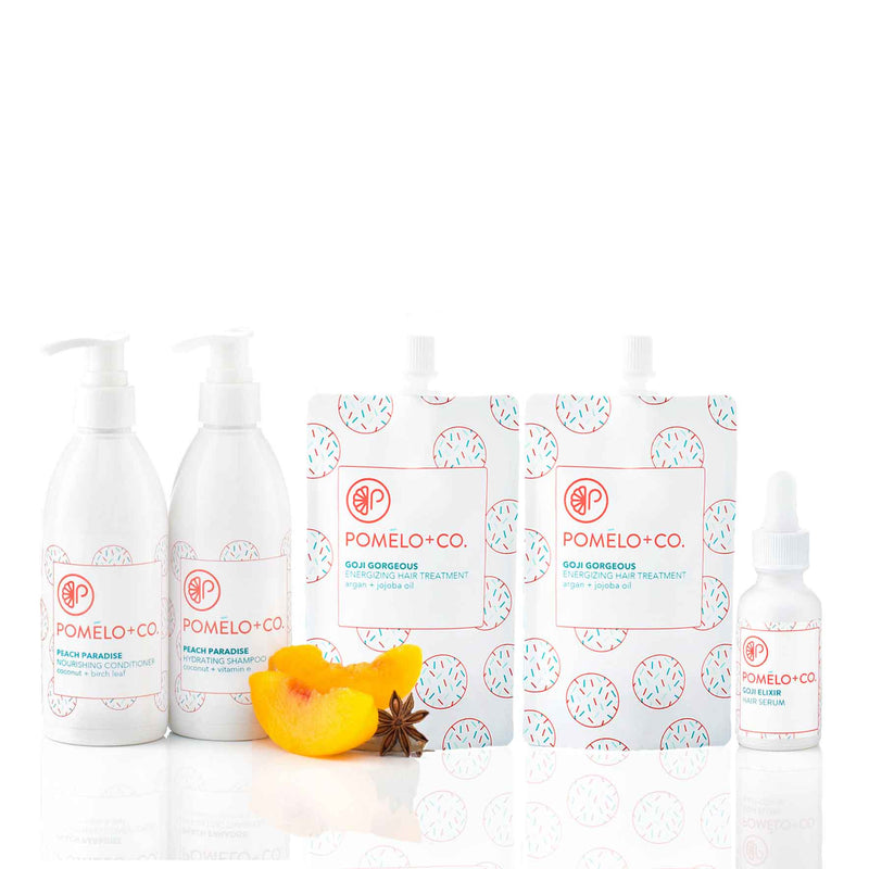 <b>THE GOJI SQUAD SET</b> <br>Peach Paradise Shampoo + Conditioner + </br>2 Goji Treatments + Goji Hair Elixir